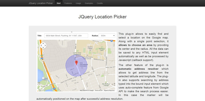 jquery location picker demo