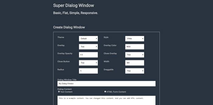 super dialog modal window