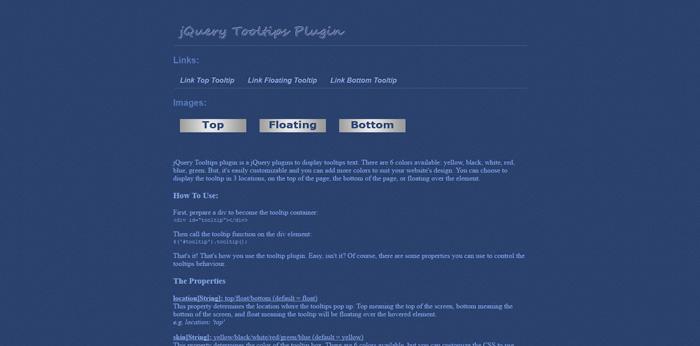 jQuery Tooltips Plugin