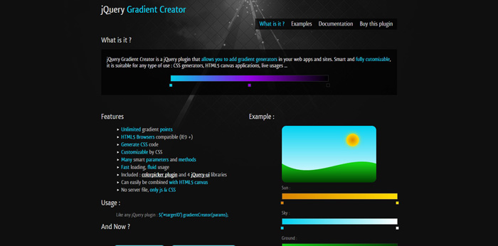 jQuery Gradient Creator