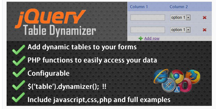 jqeury table dynamizer