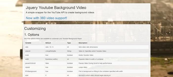 jQuery Video Background Plugins 2017 - GojQuery